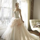 A-line Pink Cream Wedding Dress Strapless Bridal Dress Quinceanera Ball Gown Sz2 4 6 8 10 12 14+