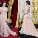 Nude Pink Chiffon Lace Bridal Evening Dress Off Shoulder Bridal Prom Dress Formal Gown
