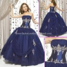 Strapless Blue Bridal Ball Gown A-line Prom Party Quinceanera Dress Q10 Sz2-16+Custom