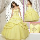 Strapless Yellow Bridal Ball Gown A-line Prom Party Quinceanera Dress Q15 Sz2-16+Custom
