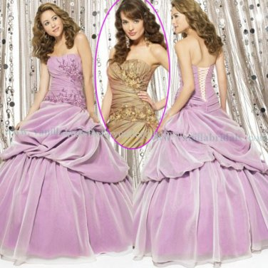 Strapless Lavender Brown Bridal Ball Gown A-line Prom Party Quinceanera Dress Q16 Sz2-16+Custom