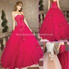 Strapless Fuchsia Rasberry Bridal Ball Gown A-line Prom Party Quinceanera Dress Q17 Sz2-16+Custom