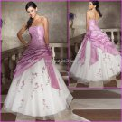 Strapless Lavebder Embroidery Bridal Ball Gown A-line Prom Party Quinceanera Dress Sz2-16+Custom