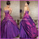Strapless Purple Embroidery Bridal Ball Gown A-line Prom Party Quinceanera Dress Sz2-16+Custom