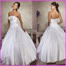 Strapless White Wedding Bridal Ball Gown A-line Prom Party Quinceanera Dress Sz2-16+Custom