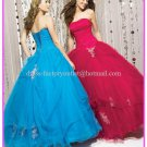 Strapless Rasberry Blue Bridal Ball Gown A-line Prom Party Quinceanera Dress Sz2-16+Custom