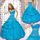 Strapless Blue Bridal Ball Gown A-line Corset Prom Party Quinceanera Dress Sz2-16+Custom