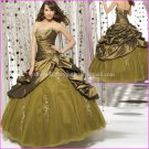 Strapless Brown GREEN Bridal Ball Gown A-line Corset Prom Party Quinceanera Dress Sz2-16+Custom