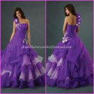 One Shoulder Pure White Bridal Ball Gown A-line Corset Prom Party Quinceanera Dress Sz2-16+Custom