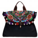 "Miya LT-04 ""Half Moon Bay"" Ethnic Thai Stylish Embroidered Canvas Womem Shoulder Tote Messenger Bag"
