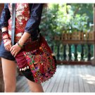 Miya LT-09 &quot;Romance&quot; Ethnic Thai Stylish Embroidered Leather Canvas Womem Shoulder Tote Bag