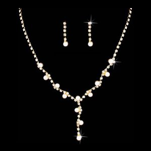 Wedding Jewelry Set Crystal Rhinestone Pearl Simple Y Necklace