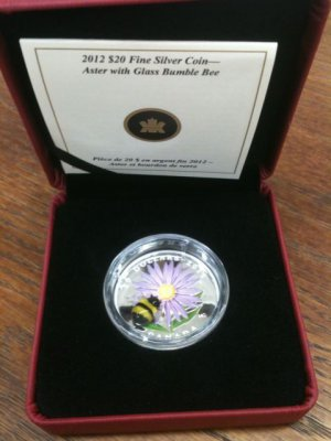 Canada 2012 Aster w Murano Venetian Glass Bumblebee $20 Pure Silver Color Proof