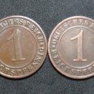 GERMANY 1 REICHSPFENNIG 4 COINS 1928 A - G  WEIMAR RARE LOT XF