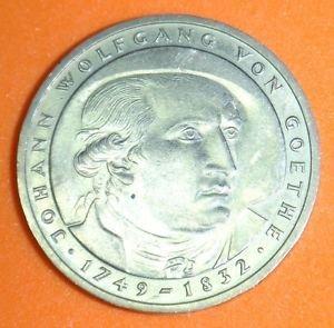 GERMANY 5 MARK UNC CUNI COIN 1982 JOHANN GOETHE UNC