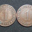 GERMANY 1 REICHSPFENNIG 4 COINS 1927 A - G  WEIMAR RARE LOT XF