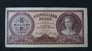 HUNGARY 1 MILLIARD PENGO BANKNOTE XF 1946 NO RESERVE