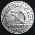 GERMANY 50 PFENNIG ALU COIN 1921 D WEIMAR TIME RARE COIN aUNC