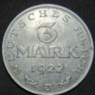 GERMANY 3 MARK ALU COIN 1922 J WEIMAR TIME RARE COIN aUNC