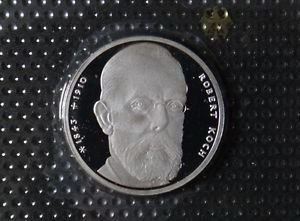 GERMANY 10 MARK PROOF SILVER COIN 1993 J ROBERT KOCH MINT SEALED