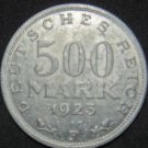 GERMANY 500 MARK ALU COIN 1923 F WEIMAR TIME RARE COIN XF