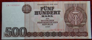 GERMANY 500 MARK DDR  BANKNOTE1985 ZA REPLACEMENT UNC CONDITION RARE NR