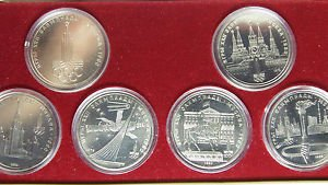 RUSSIA USSR 1 RUBLE 6 COIN SET OLIMPIC MOSCOW 1980 UNC MINT BOX COA FREE SHIP