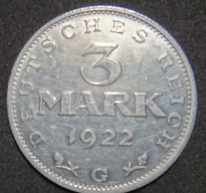 GERMANY 3 MARK ALU COIN 1922 G WEIMAR TIME RARE COIN aUNC