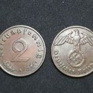 GERMANY 2 PFENNIG COIN 1937 A FROM NAZI THIRD REICH TIME RRARE