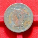 USA 1852 BRAIDED HAIR LARGE ONE CENT   @ RARE @    NO RESERVE