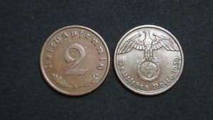 GERMANY 2 PFENNIG COIN 1939 A FROM NAZI THIRD REICH TIME RRARE