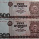 GERMANY 2X500 MARK BANKNOTES 1985 ZA REPLACEMENT DDR UNC CONDITION CONSECUTIVE