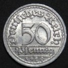 GERMANY 50 PFENNIG ALU COIN 1920 F WEIMAR TIME RARE COIN aUNC