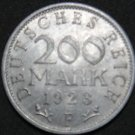 GERMANY 200 MARK ALU COIN 1923 F WEIMAR TIME RARE COIN aUNC