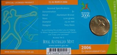 AUSTRALIA $1 MELBOURNE 2006 UNC COIN FROM RAM MINT IN COIN CARD