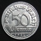 GERMANY 50 PFENNIG ALU COIN 1922 D WEIMAR TIME RARE COIN aUNC