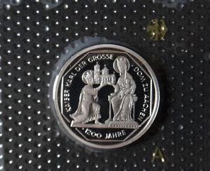 GERMANY 10 MARK PROOF SILVER COIN 2000 A KARL DER GROSSE MINT SEALED