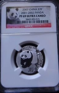 2007 CHINA SILVER 3 YUAN 25TH ANNIVERSARY 2001-2002 PANDA NGC PF 69 ULTRA CAMEO