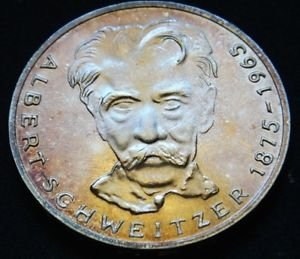 GERMANY 5 MARK UNC SILVER COIN 1975 ALBERT SCHWEITZER UNC
