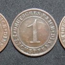 GERMANY 1 REICHSPFENNIG 5 COIN SET 1925 A - J  WEIMAR TIME VERY RARE LOT XF