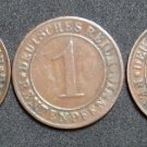 GERMANY 1 RENTENPFENNIG 5 COIN SET 1923 A - J  WEIMAR TIME VERY RARE LOT XF