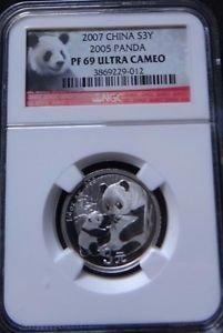 2007 CHINA SILVER 3 YUAN 25TH ANNIVERSARY 2005 PANDA NGC PF 69 ULTRA CAMEO