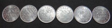 GERMANY 6 COIN FULL SET 200 MARK ALU COIN 1923 A - J WEIMAR FULL RARE SET aUNC