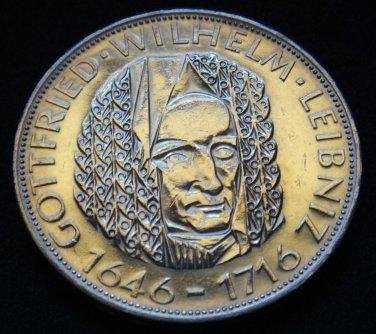GERMANY 5 MARK UNC SILVER COIN 1966 D LEIBNIZ UNC