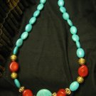 Turquoise & Coral Gemstone Pendant Necklace with Gold Plated Beads 429 CTW Free ShipLower 48