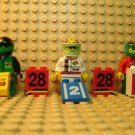 LEGO ~ Racers ~ Lot of 3 Race & Pit Crew Minifigures Octan Car Racing Team Sign