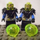 1015] LEGO Space Mars Minifigure~Insectoid Alien Black Grey Blue~Green Helmet x2