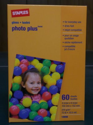 """Lot of 5 - Staples Photo Plus Paper, 4"""" X 6"""", Gloss, 60/pack (300 sheets total)"""