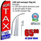 Income tax fast refund flag kit swooper flag banner 15ft tall red blue us
