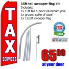 Income tax services flag kit swooper flag banner 15ft tall red blue us